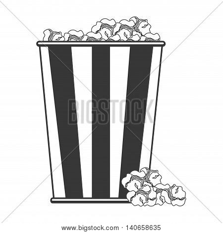 flat design popcorn in striped package icon vector illustration