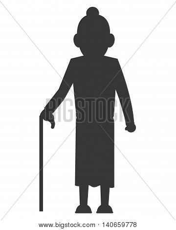 flat design senior woman with cane icon vector illustration