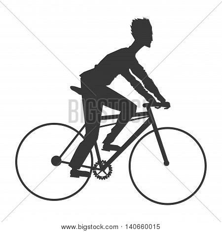 flat design man riding bike silhouette icon vector illustration