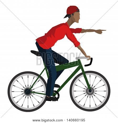 flat design man riding bike pointing forward icon vector illustration