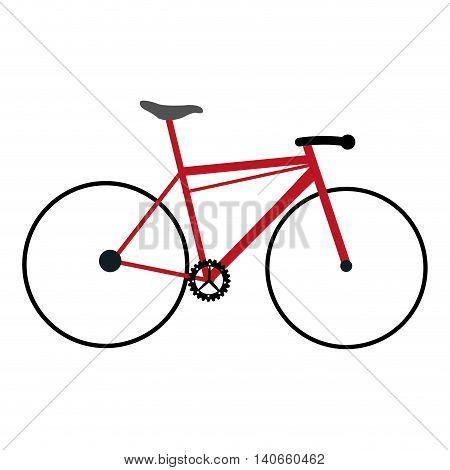 flat design single bike icon vector illustration