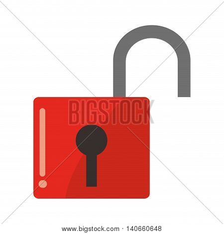 flat design safety lock icon vector illustration