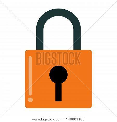flat design safety lock icon vector illustration