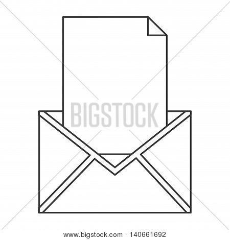 flat design simple envelope with paper icon vector illustration