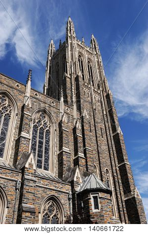 low angle view on the church tower in Duke University