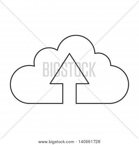 flat design upload up arrow cloud icon vector illustration
