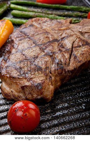 Grilled T-bone Steak And Vegetables
