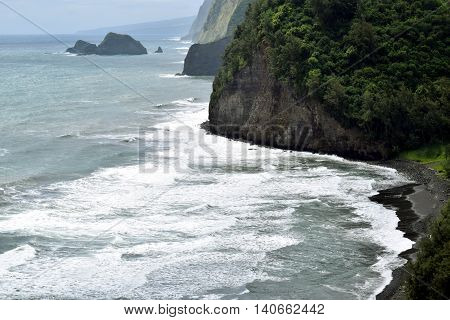 Rugged coast at Poulu beach,Big Island, Hawaii