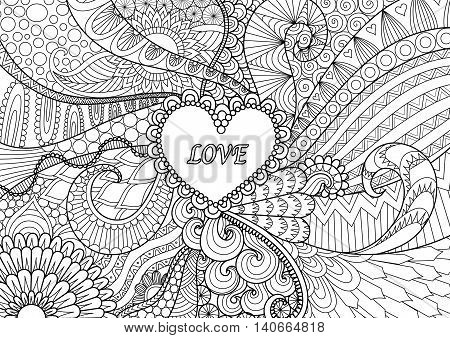 Heart on flowers for coloring book for adult or valentines card