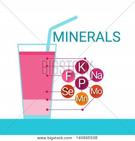 Vitamins Cocktail Glass Essential Chemical Elements Nutrient Minerals Flat Vector Illustration