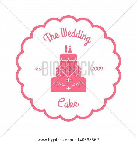 The wedding cake logo. Vector illustration isolated on white. Clean pink logo for bakery. Classic wedding cake