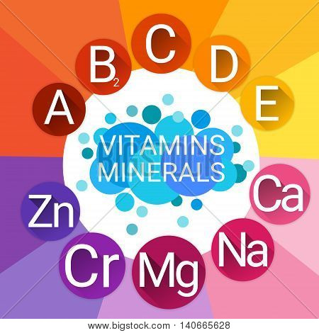 Essential Chemical Elements Nutrient Minerals Vitamins Flat Vector Illustration