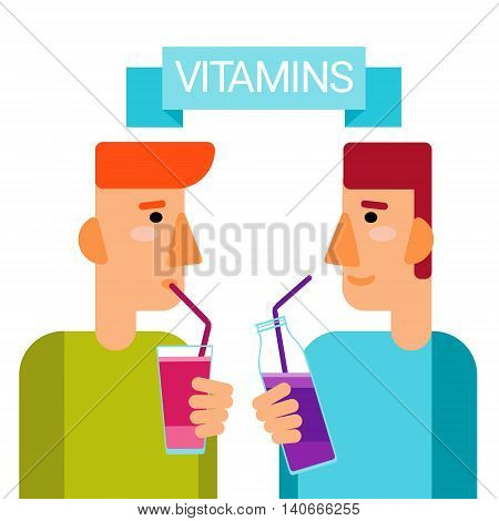 Man Drink Vitamins Cocktail Bottle Essential Chemical Elements Nutrient Minerals Flat Vector Illustration