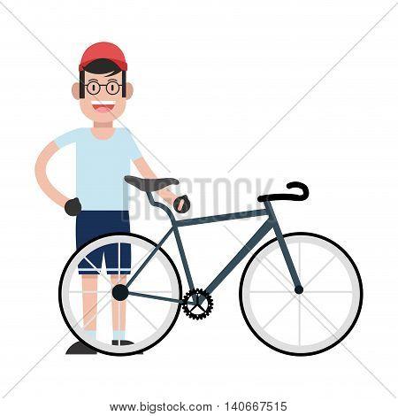 flat design man wearing cap with bike icon vector illustration