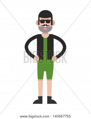 flat design man standing wearing shorts icon vector illustration