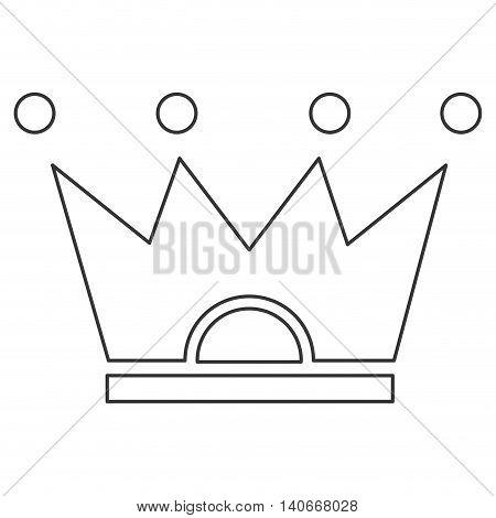 flat line design crown pictogram icon vector illustration
