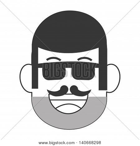 flat design face of man with facial hair icon vector illustration