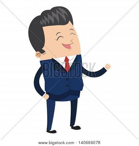 flat design cute businessman laughing icon vector illustration