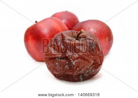 Red rotten apple Natural color and texture.