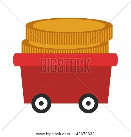 flat design wagon with coins icon vector illustration