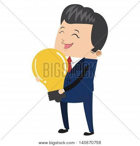 flat design businessman holding lightbulb icon vector illustration