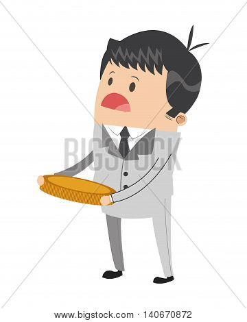 flat design cute businessman holding coin icon vector illustration