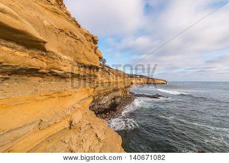 Sandstone cliffs at Sunset Cliffs in San Diego, California.