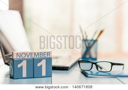 November 11th. Day 11 of month, calendar on Software Engineer workplace background. Autumn concept. Empty space for text.