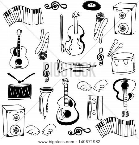 Doodle of stock music set vector illustration