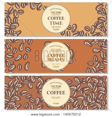 Coffee beans banner vintage retro style ink hand drawn vector