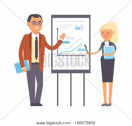 Business people isolated on white. Corporate teamwork happy office success business people. Professional work person business people successful meeting businessman vector character.
