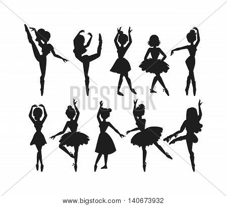 Silhouette of female modern contemporary ballet dancer girl. Professional ballet dancer posing. Beautiful female young woman ballerina dancers character. Performer beauty exercise