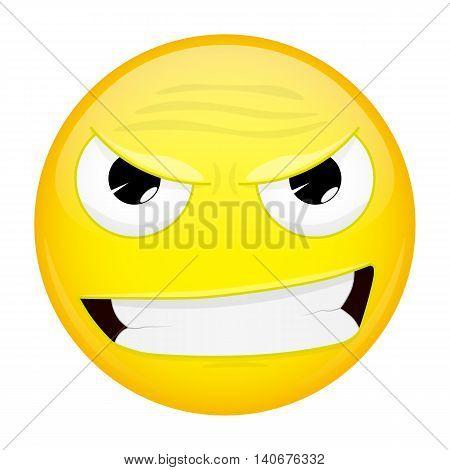 Evil emoji. Bad emotion. Wicked emoticon. Vector illustration smile icon.