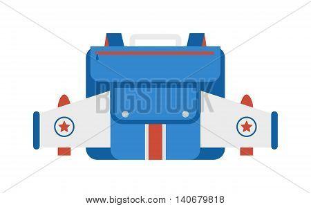 Kid school bag isolated on white background. Cartoon style school bag handle strap sack, textile rucksack. School bag children equipment. School supplies educational full schoolbag adventure.