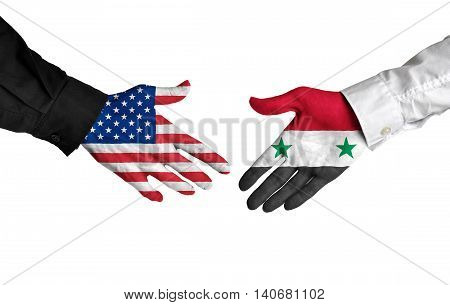 United States and Syria leaders shaking hands on a deal agreement
