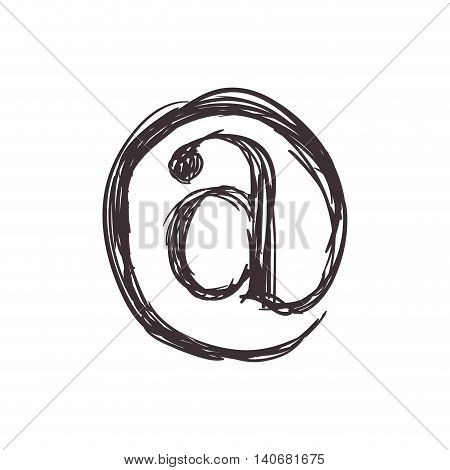 Email concept represented by arroba icon. Isolated and flat illustration