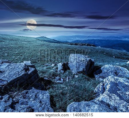 Summer Landscape With Stones On The Hill At Night