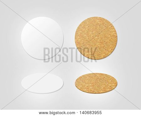 Blank white and cork textured beer coasters mockup clipping path 3d illustration. Round clear mug mat design mock up top view. Circle cup rug display 2 side set isolated. Bottle plain coaster
