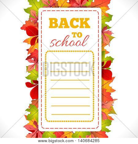 Timetable with inscription Back To School on background of autumn leaves.Vector set illustration.School schedule Back to School phrase and september leaves composition.Education and web design concept