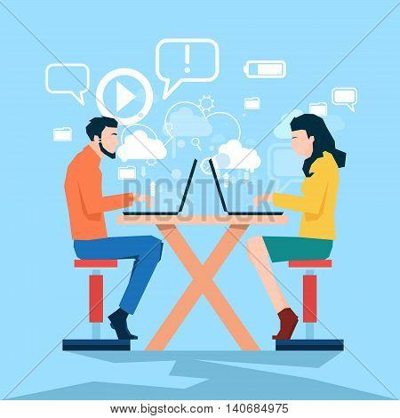 Business Man Woman Using Laptop Computer Coworking Center Flat Vector Illustration
