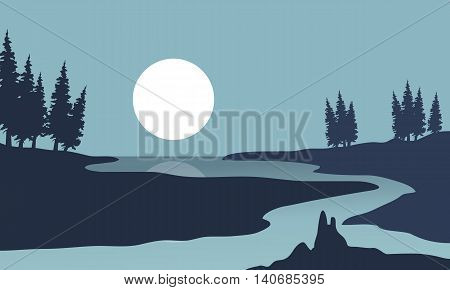 Silhouette of river and moon landscape illustration