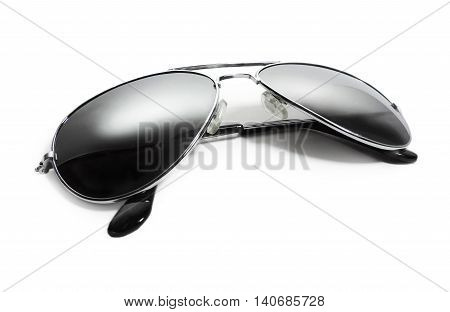 Black aviator sunglasses, isolated on white background.