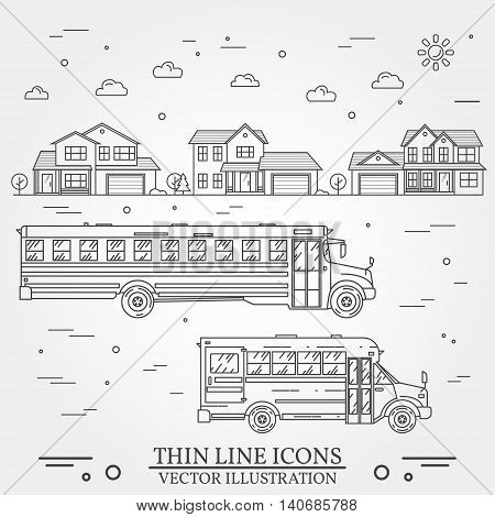 Neighborhood With Homes And School Buses Illustrated On White.