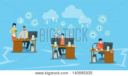 Business People Group Workplace Office Work Desktop Computers Flat Vector Illustration