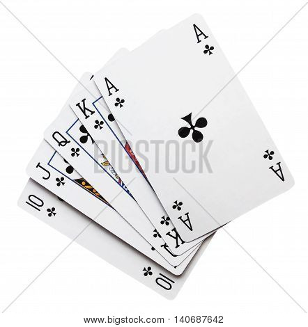 royal flush, playing cards, isolated on White