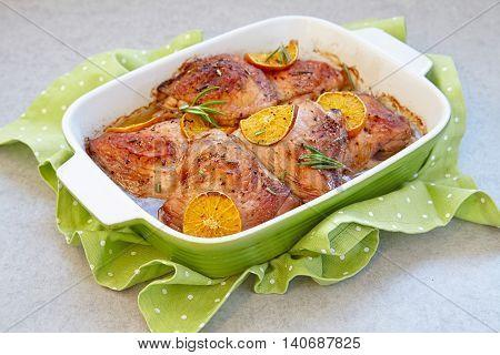 Oven roasted baked orange clementine chicken legs