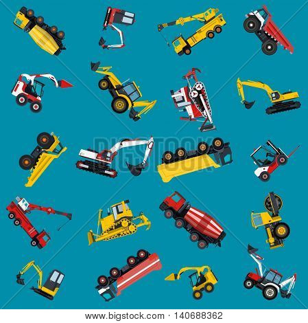 Wallpaper with construction machinery set on blue. Ground works background. Machine vehicles. Excavator, truck, digger, crane, bagger, mix, lorry. Heavy pavement foundation. Master vector illustration