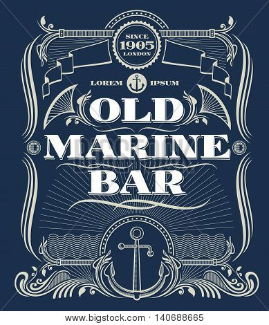 Vintage border western vector frame, old marine bar label. Illustration frame with anchor for marine bar and nautical old bar