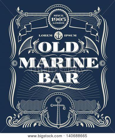 Vintage border western vector frame, old marine bar label. Illustration frame with anchor for marine bar and nautical old bar