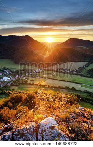 Sunrise on a Slovakia mountain panorama landscape.